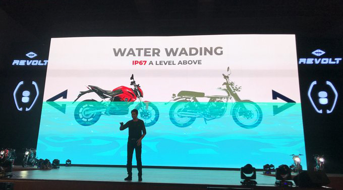 revolt electric motorcycle water wading