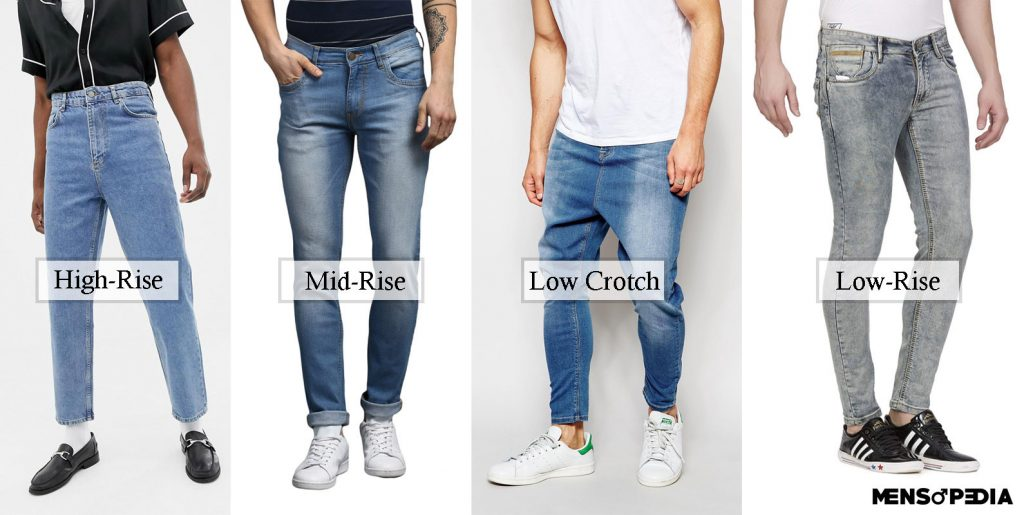 jeans fit for men depend upon the rise of the waistband
