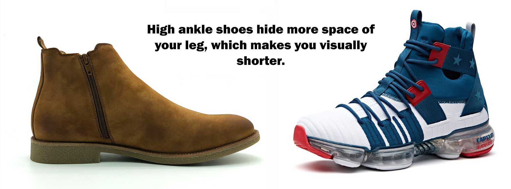 high ankle shoes make you look shorter