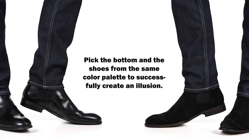 match shoes with bottoms to make an illusion
