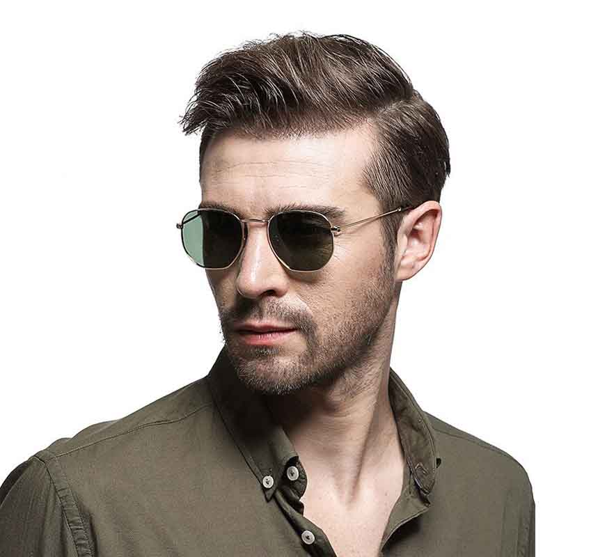 Geometric sunglasses trend for men