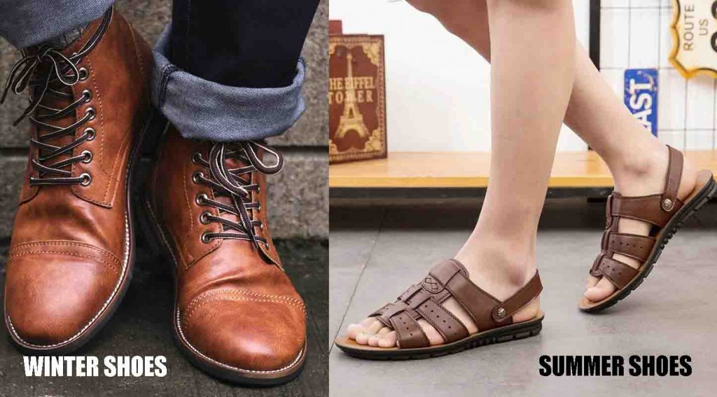 men's winter shoes vs summer shoes