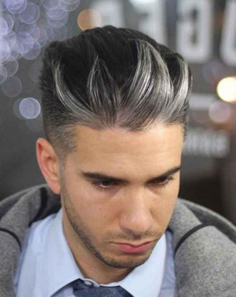 trendy silver highlights on black hair for men