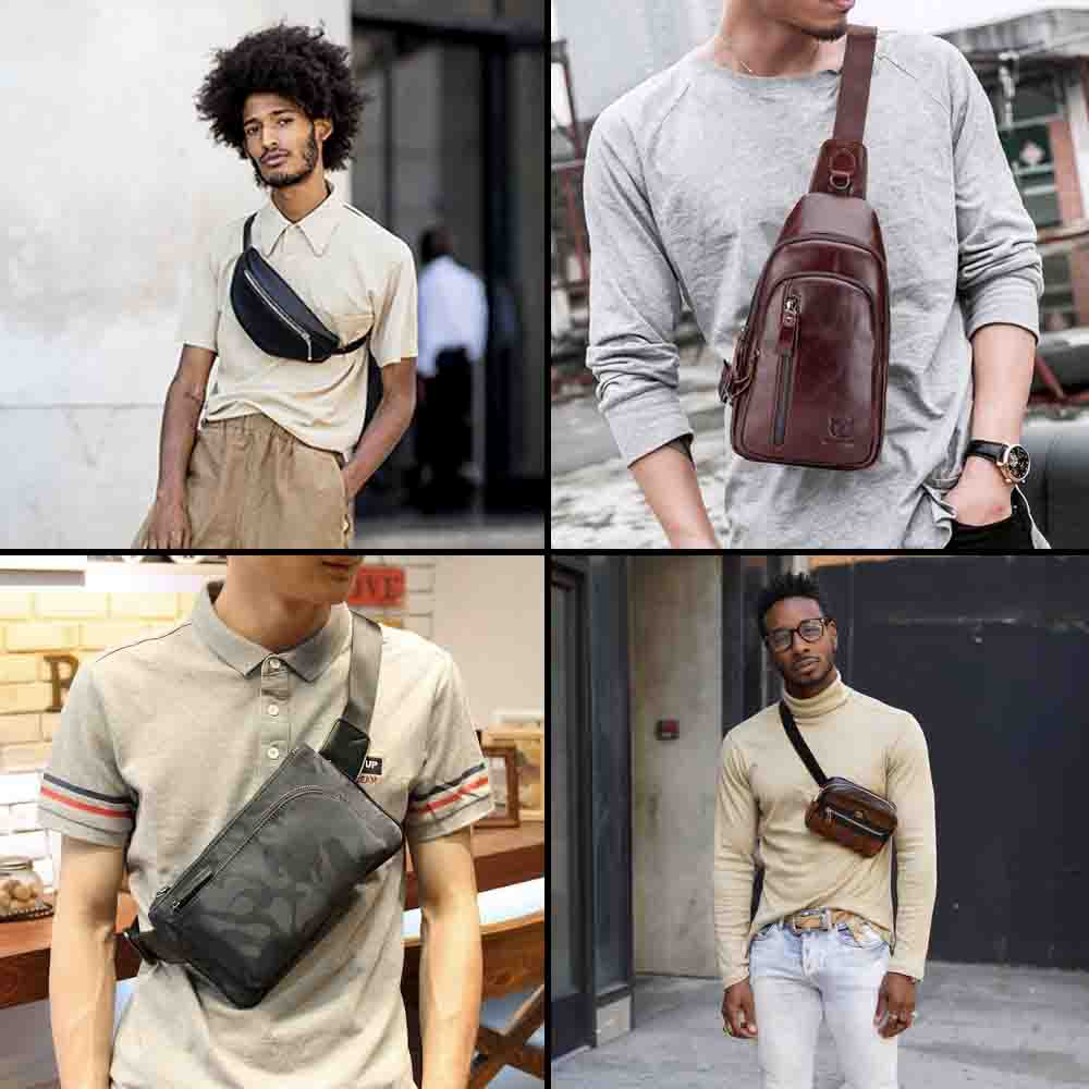 Indian men street fashion trend-cross-body bags