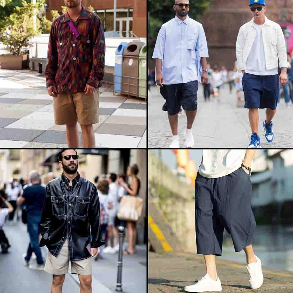Indian men street fashion trend-loose below knee shorts