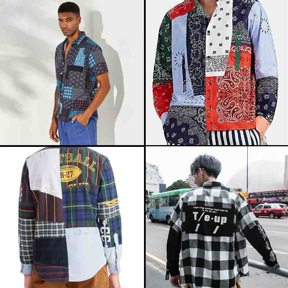 Indian men street fashion trend-patchwork print shirts