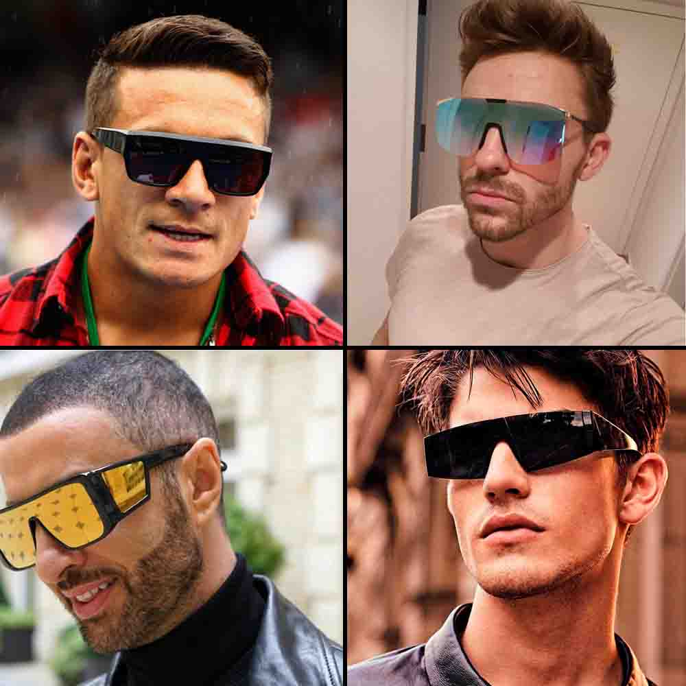 Indian men street fashion trend-shield sunglasses