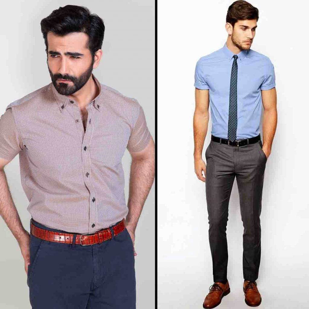 Indian Men Office Outfit Half Sleeve Shirt With Chinos