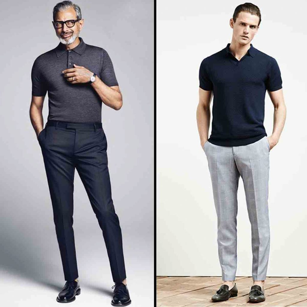 Men's Office Outfit Polo Tee Shirts With Pleated Trousers