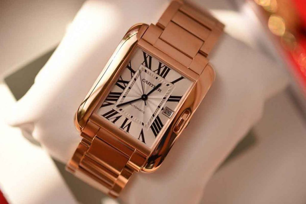 best luxury watch Cartier 18k Rose Gold & Diamond Tank Anglaise Extra Large Model