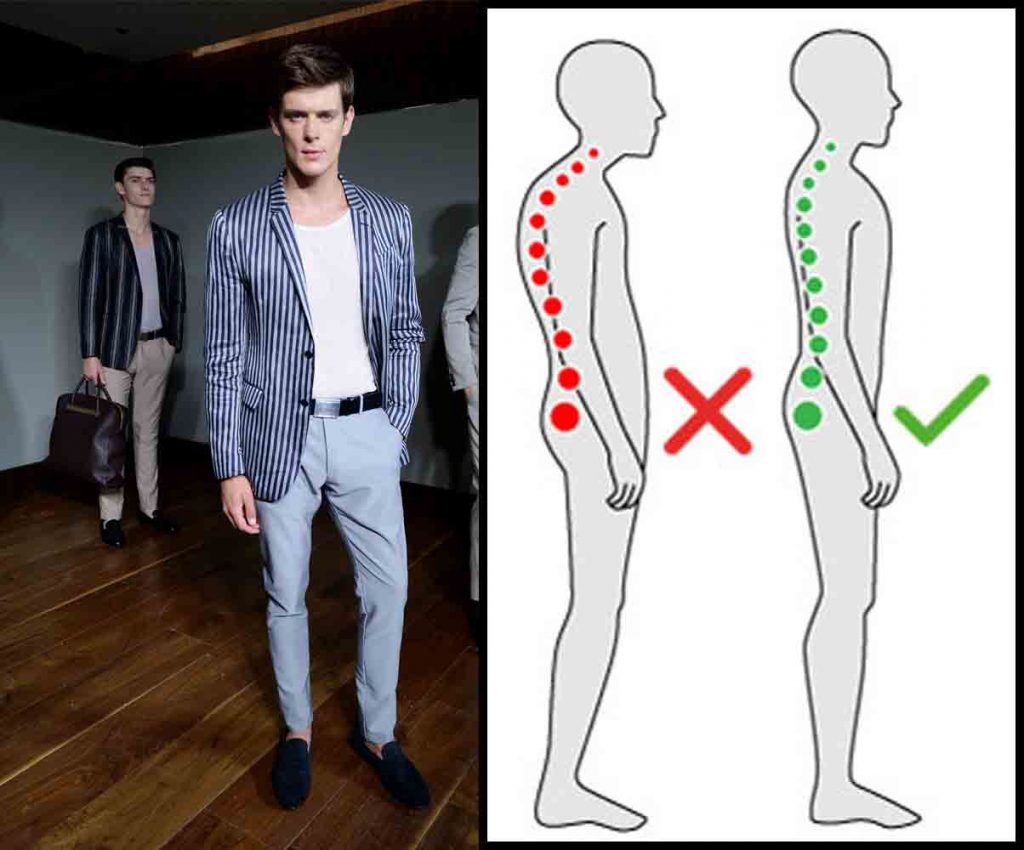 male model walking and standing body posture