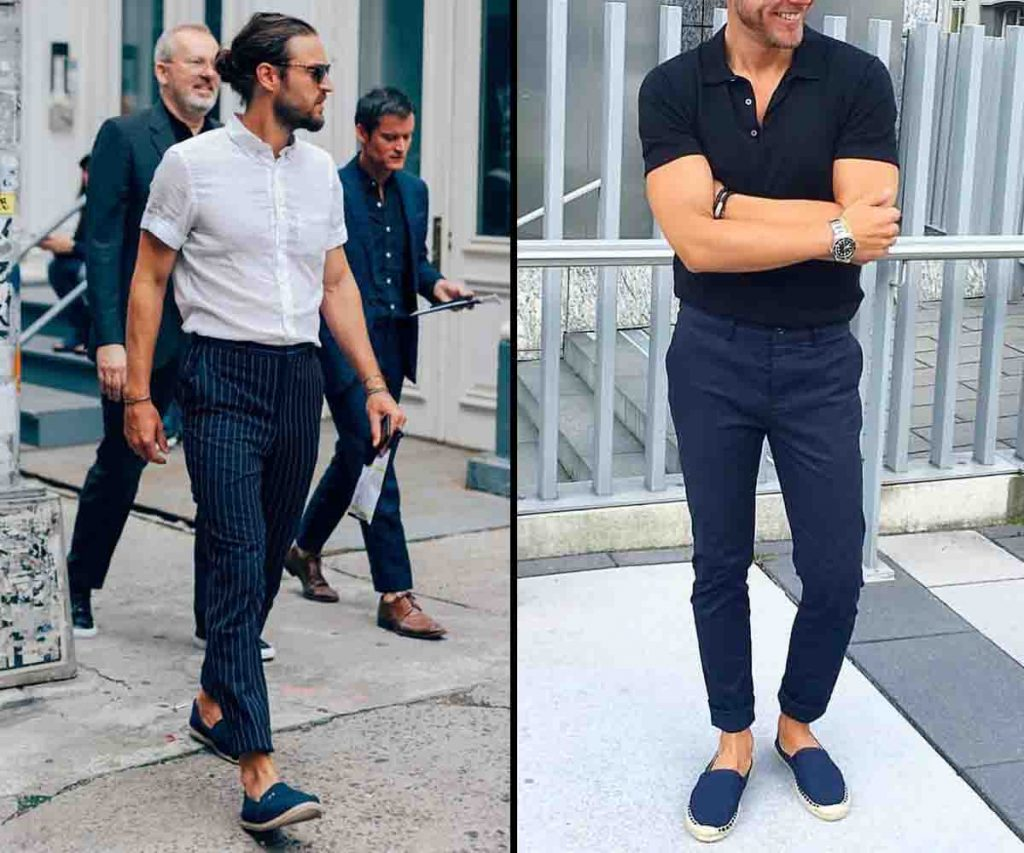 men's ankle length pants fashion with Espadrilles