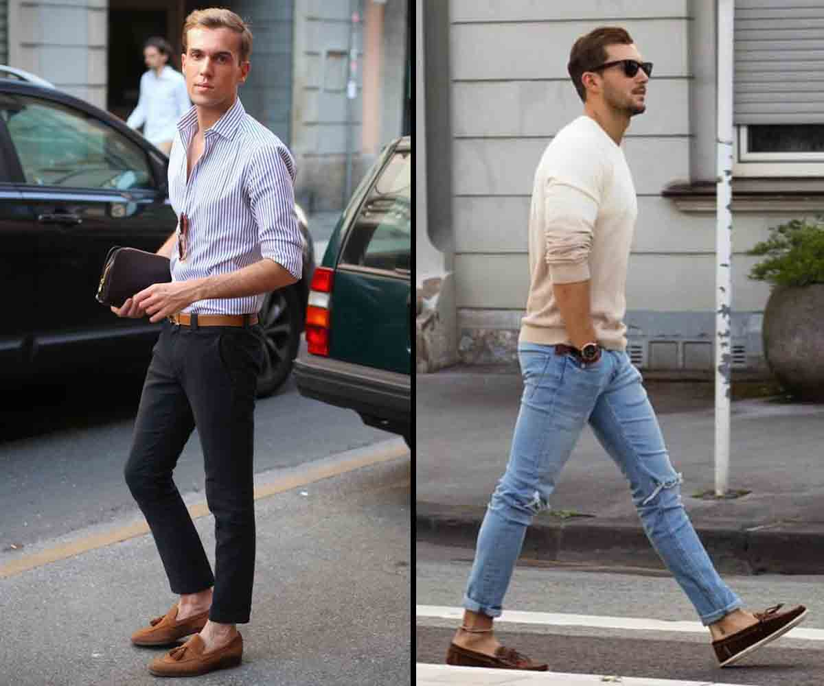 men's ankle length trousers fashion with Loafers