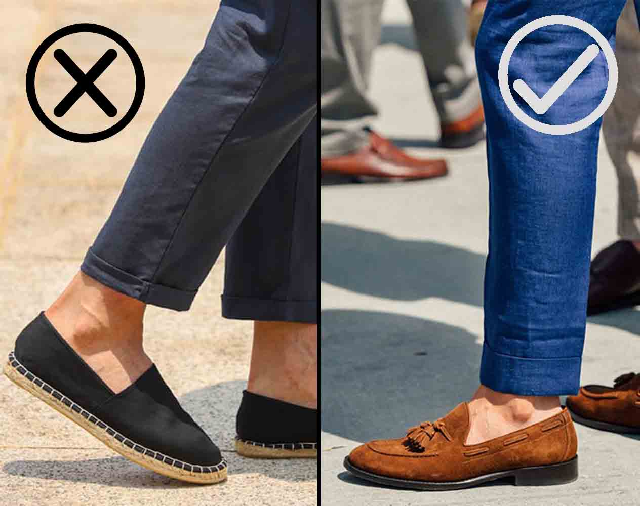 what should be the length of ankle length trousers for men