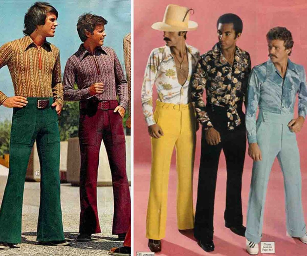 1960s men's fashion trend bell bottom trousers