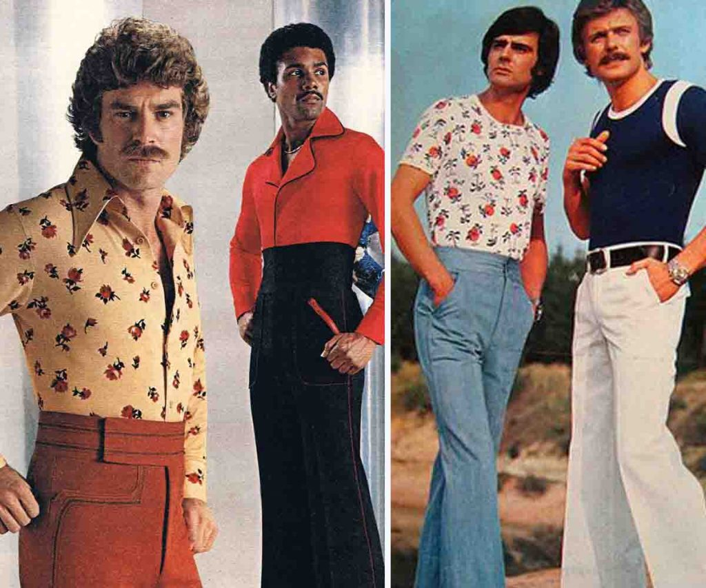 1970s men's fashion trend high waist pants
