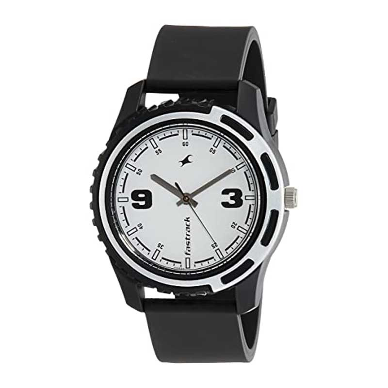 Fastrack Black Casual Analog White Dial Men's Watch