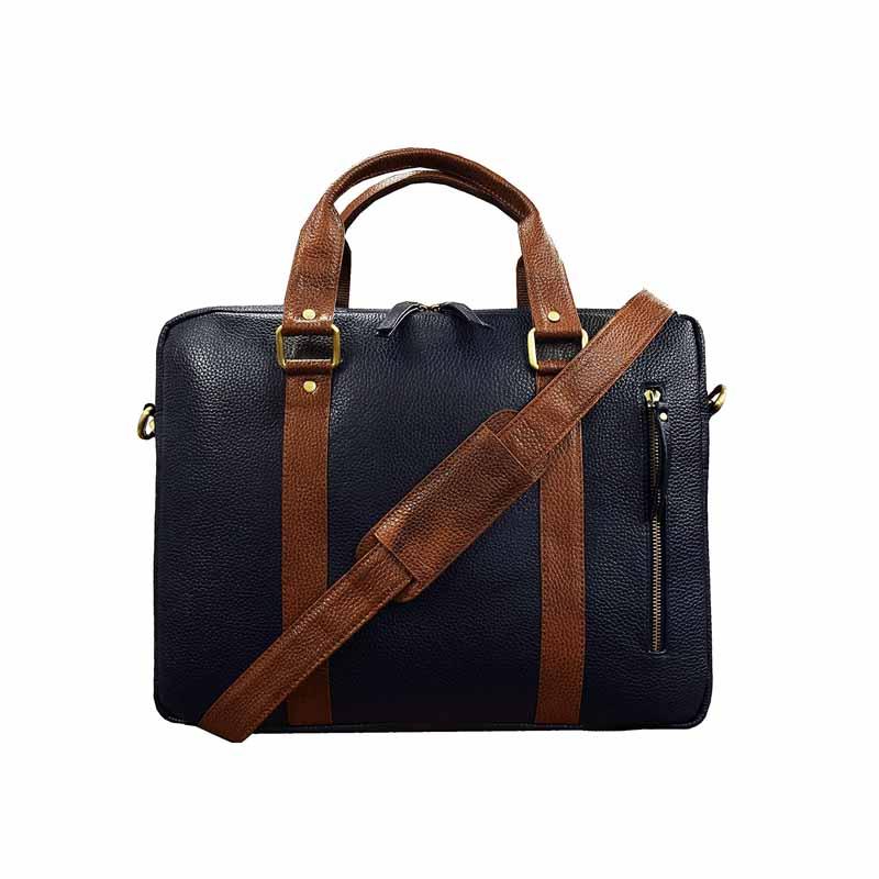 ABYS Blue-Tan Genuine Leather Laptop Backpack