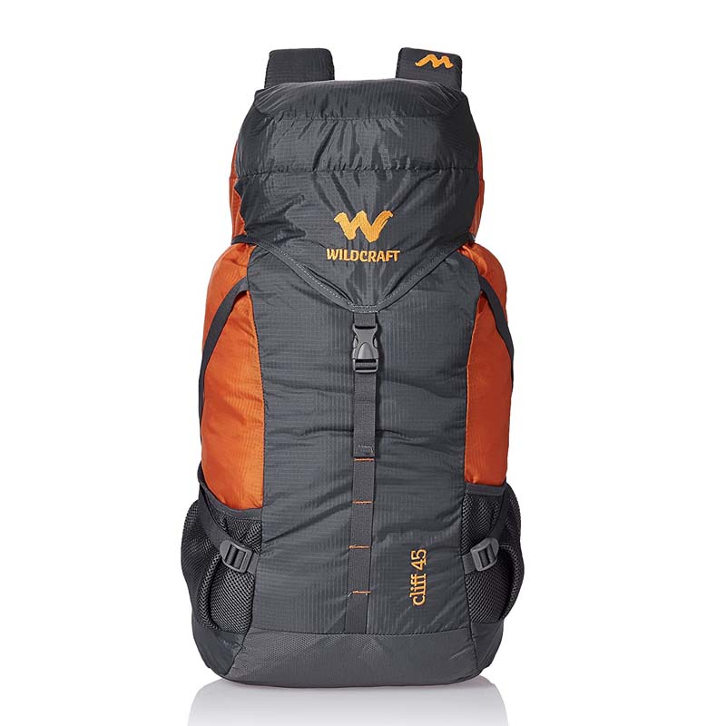 best travel backpacks for hiking  - Wildcraft 45 Ltrs Grey And Orange Rucksack