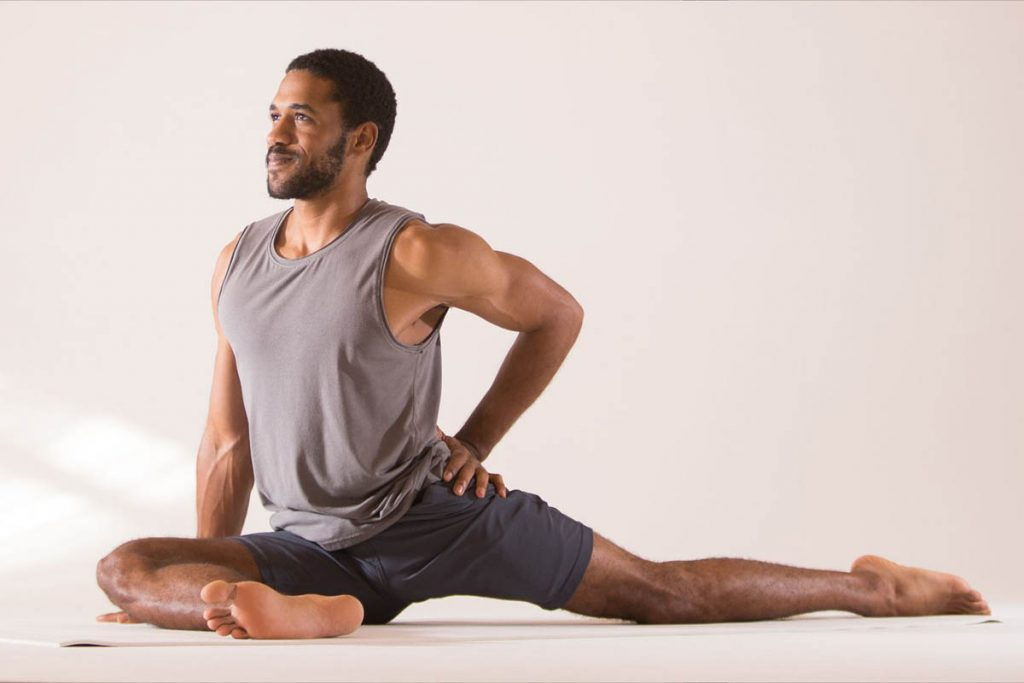 Men Pigeon Pose is good to reduce back pain