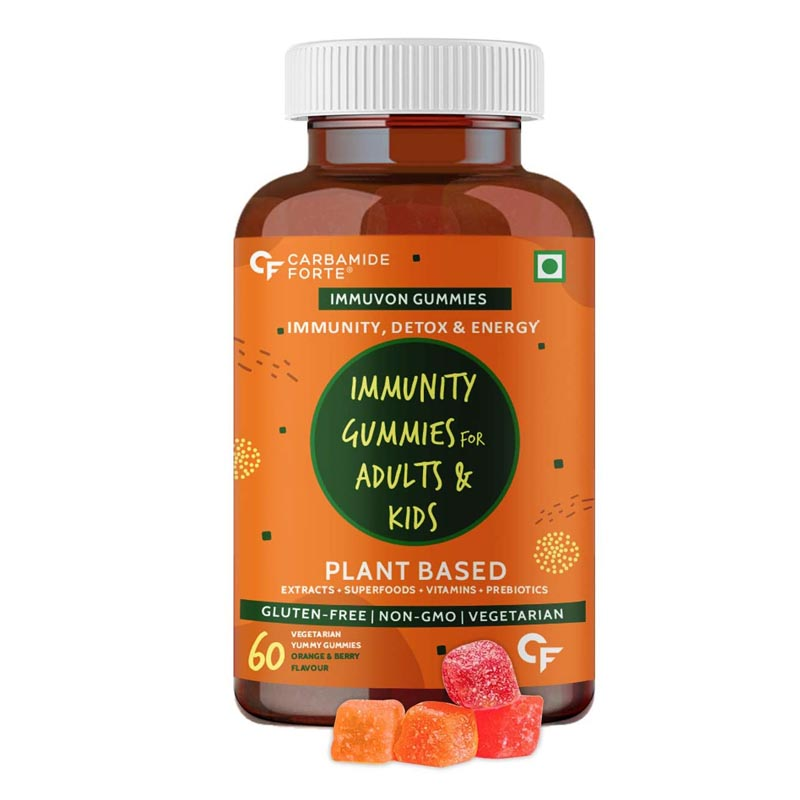 Carbamide Forte Immunity Booster Gummies for Adults & Kids With Plant Based Extracts, Superfoods, Vitamins, Minerals & Prebiotics