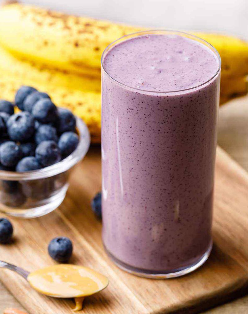 homemade protein shakes for muscle building - Almond Butter, Banana, And Blueberry Protein Smoothie