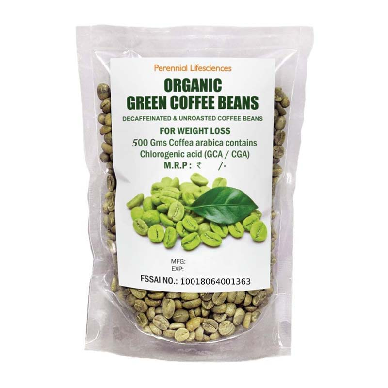 Perennial Lifesciences Decaffeinated Organic Green Coffee Beans For Weight Management