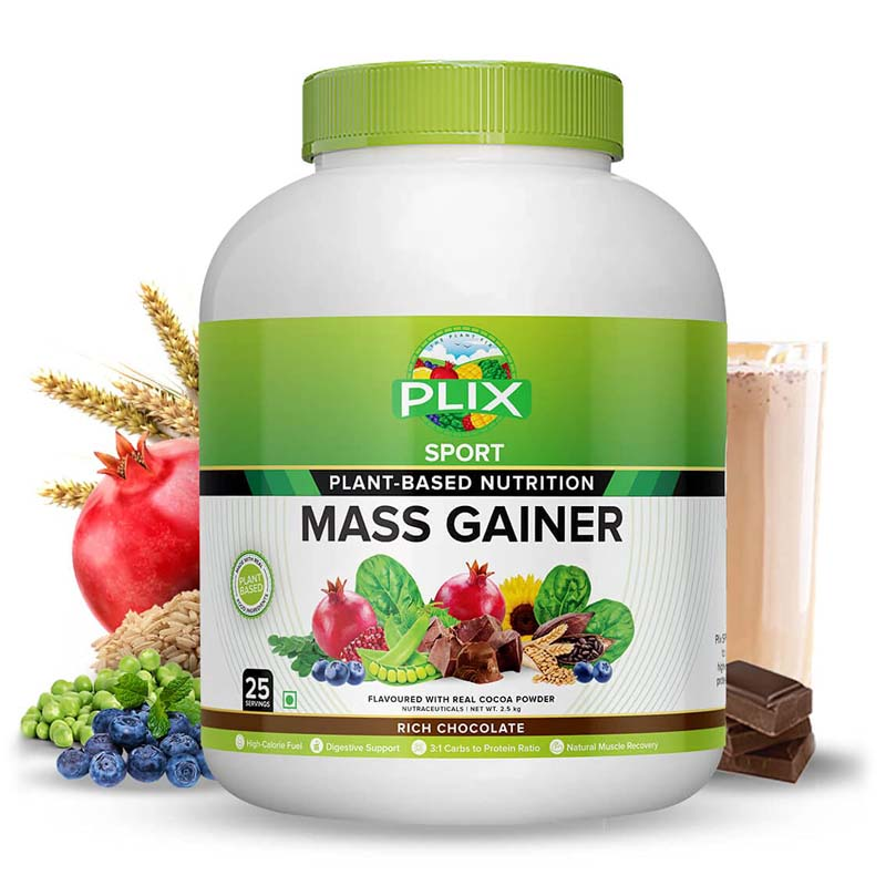 best mass gainer for beginners in India - Plix Sport Plant-Based Mass Gainer